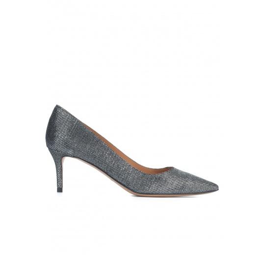 Metallic textile mid heel pumps Pura L�pez