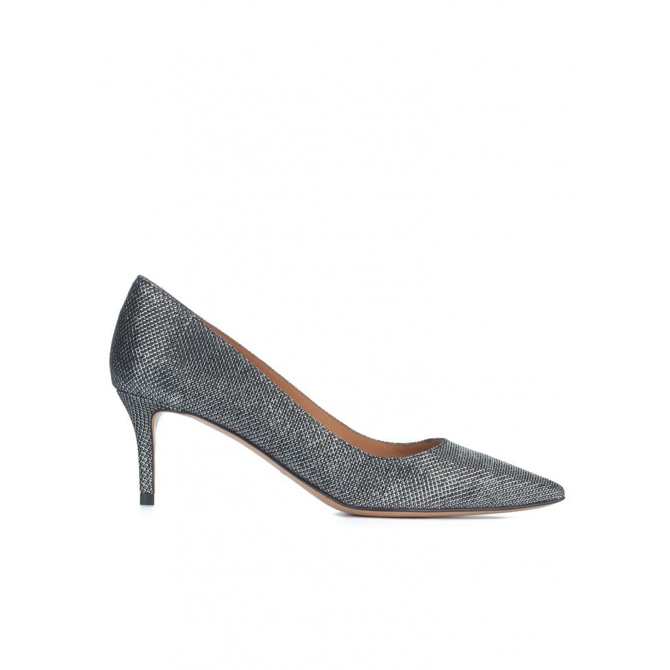 Metallic textile mid heel pumps