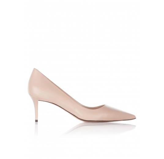 Mid heel pumps in nude leather Pura L�pez
