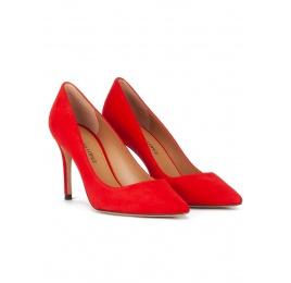 Zapatos de ante rojo con tacón alto y punta fina Pura López