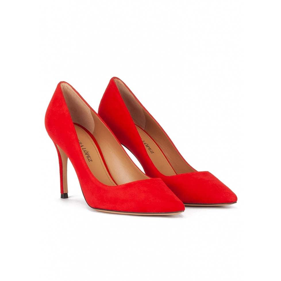 Red suede point-toe high heel pumps
