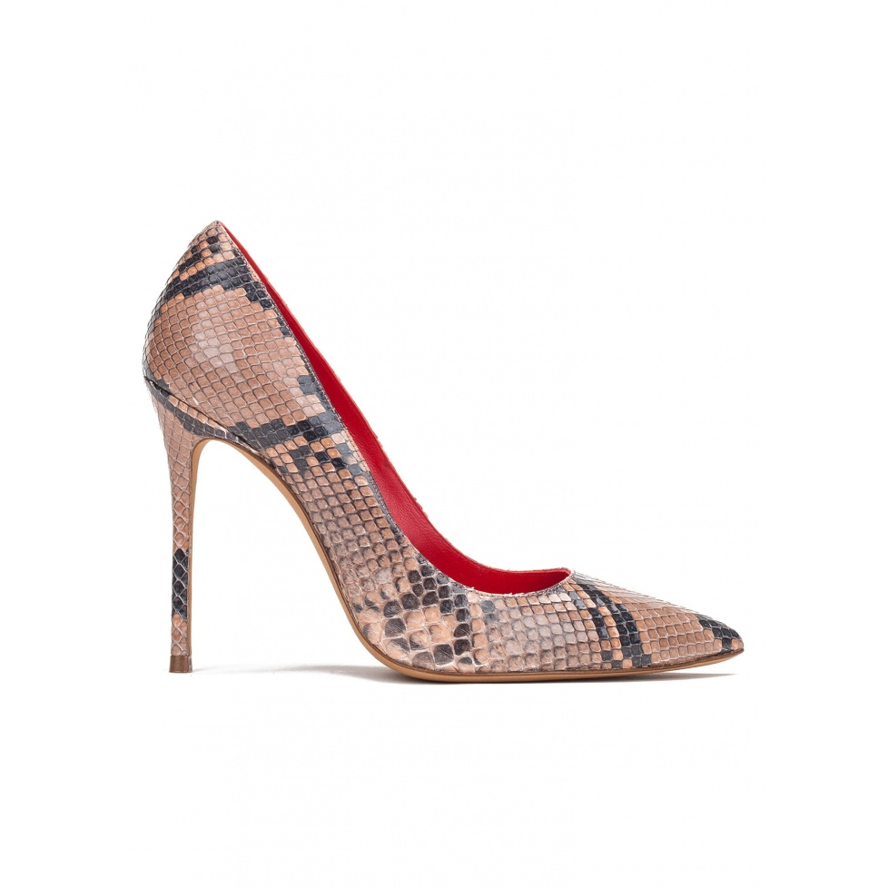 High heel pumps in nude python leather