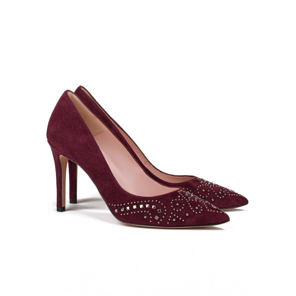 Studded high heel pumps in burgundy suede - online store Pura Lopez