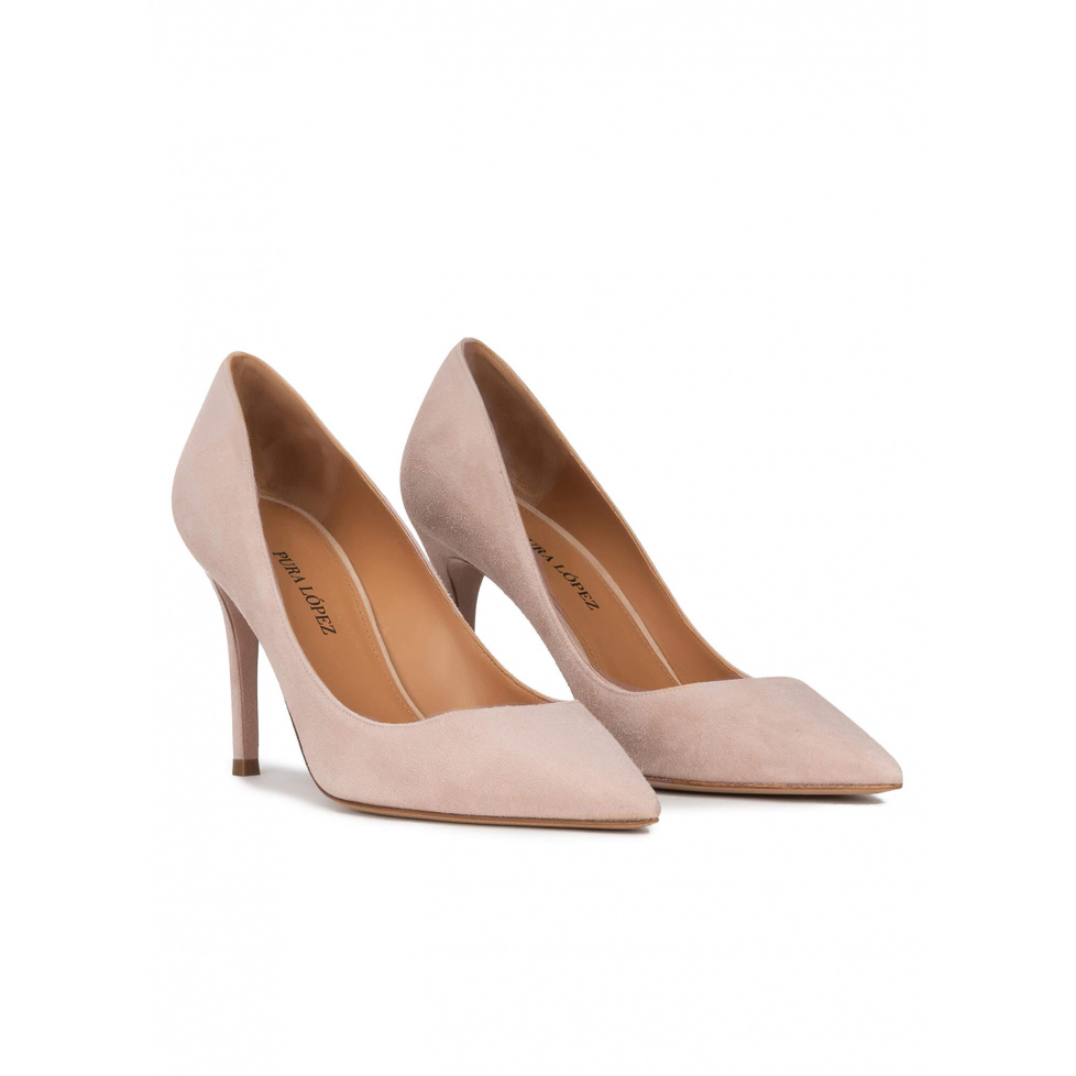 Nude suede high heel pointy toe pumps