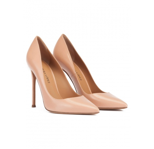 Stiletto heel point-toe pumps in nude leather Pura L�pez