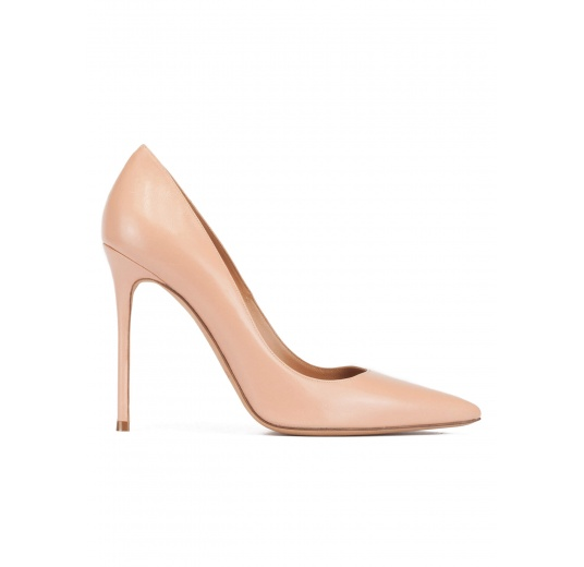 Stiletto heel point-toe pumps in nude leather Pura López