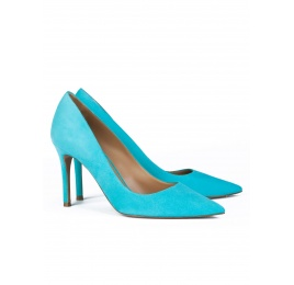 High heel pumps in turquoise suede Pura López