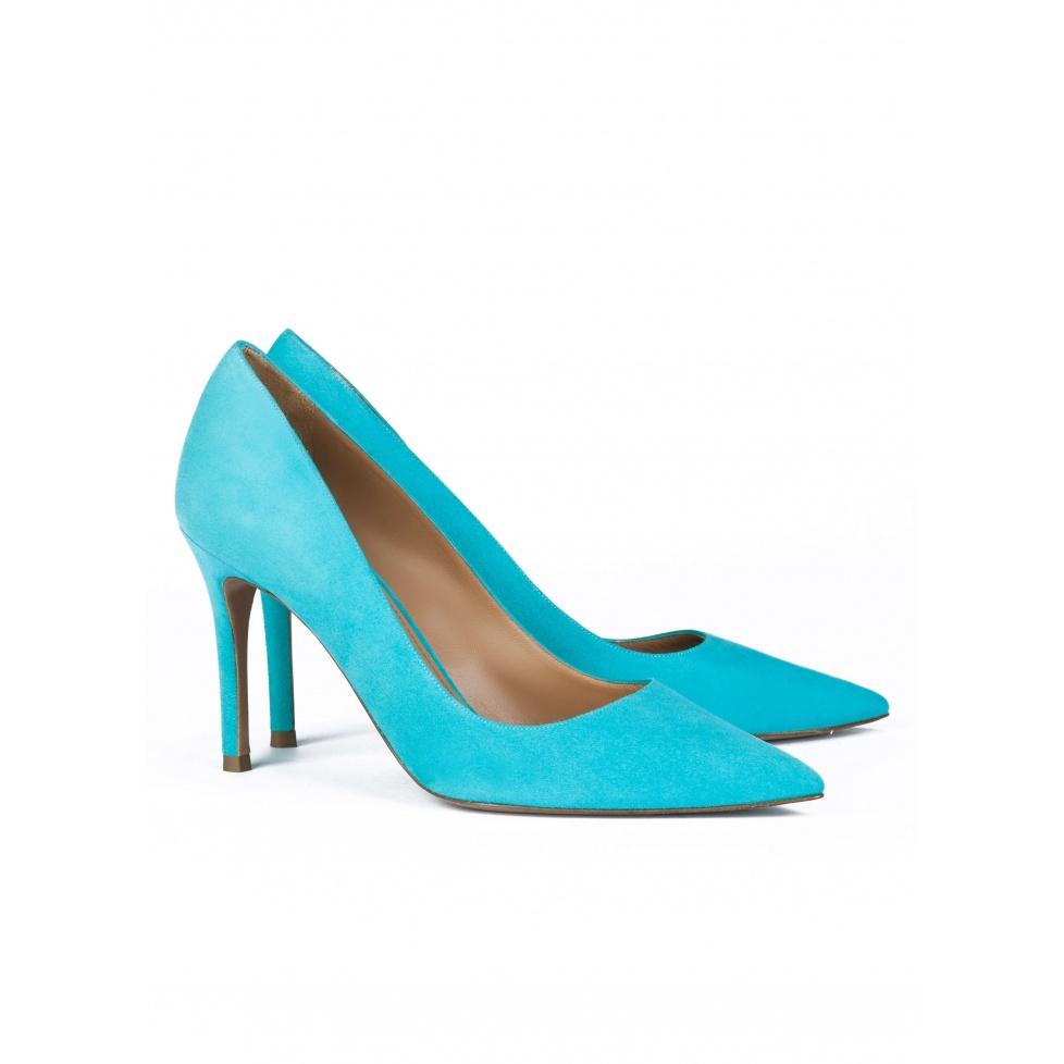 High heel pumps in turquoise suede - online shoe store Pura Lopez