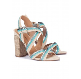 High block heel sandals in sand suede Pura López