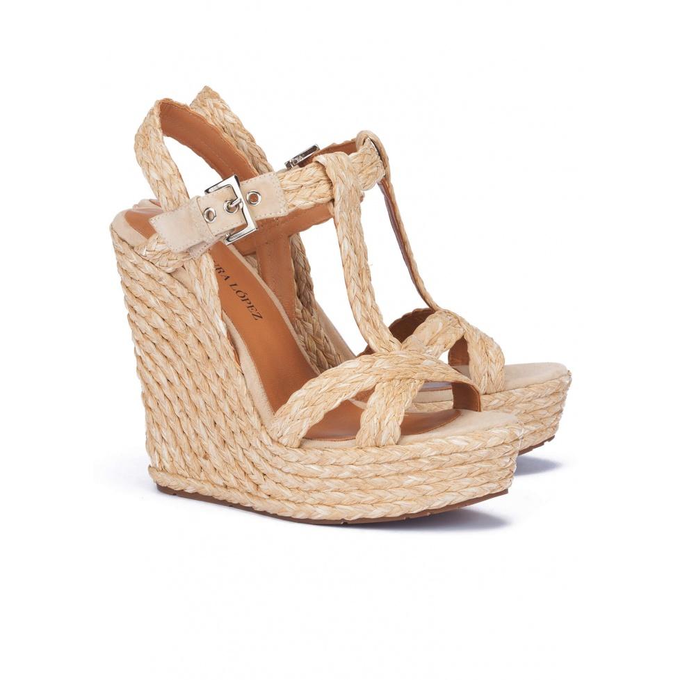Espadrille sandals in sand raffia - online shoe store Pura Lopez