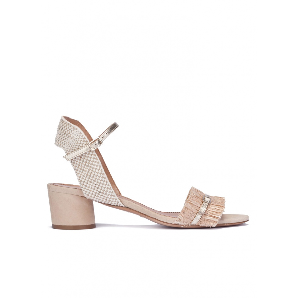 Mid block heel sandals in neutral hues