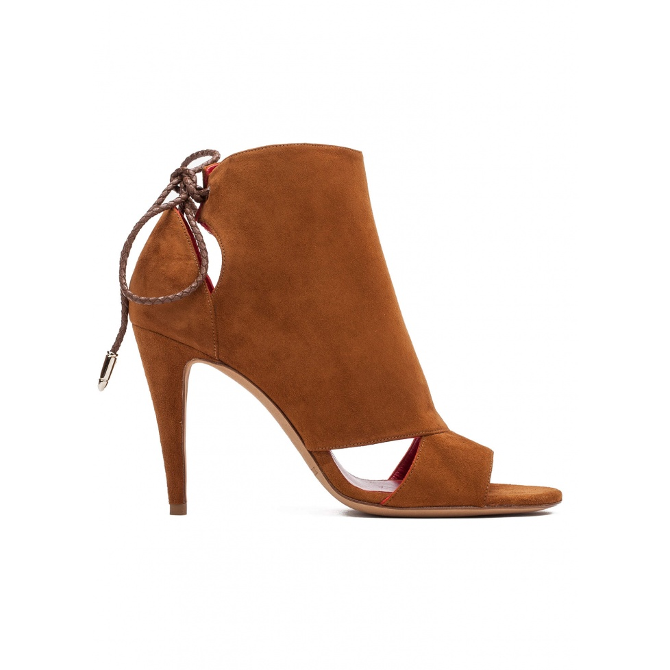 Cutout high heel sandals in chestnut suede