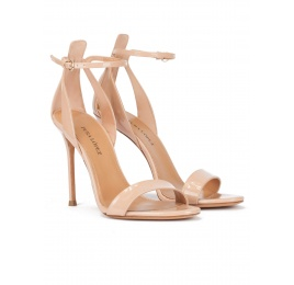 Minimalist high heel sandals in nude patent leather Pura López