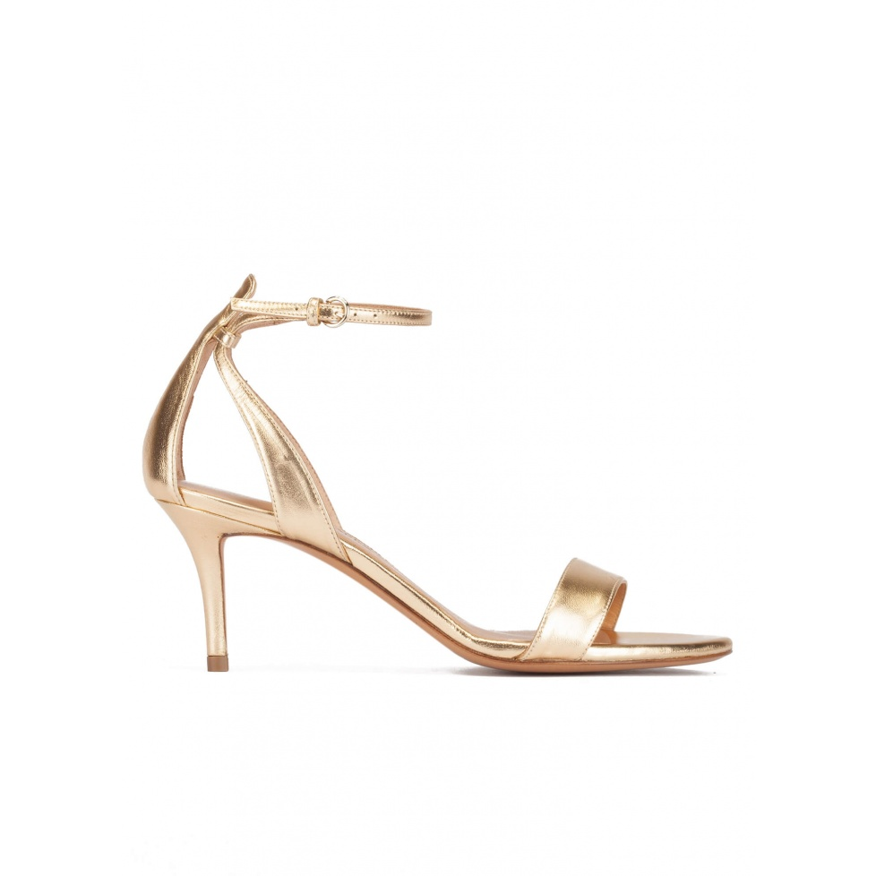 Ankle strap mid stiletto heel sandals in gold metallic leather