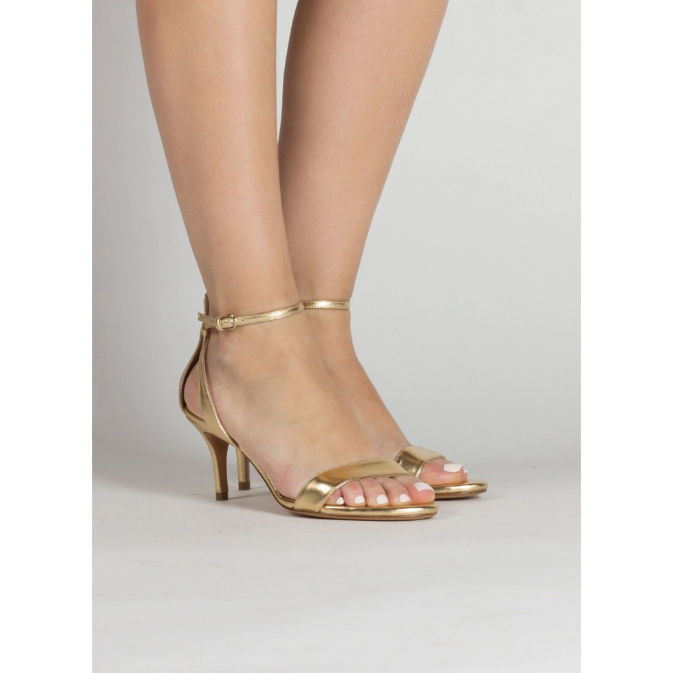 Ankle strap mid stiletto heel sandals in gold leather