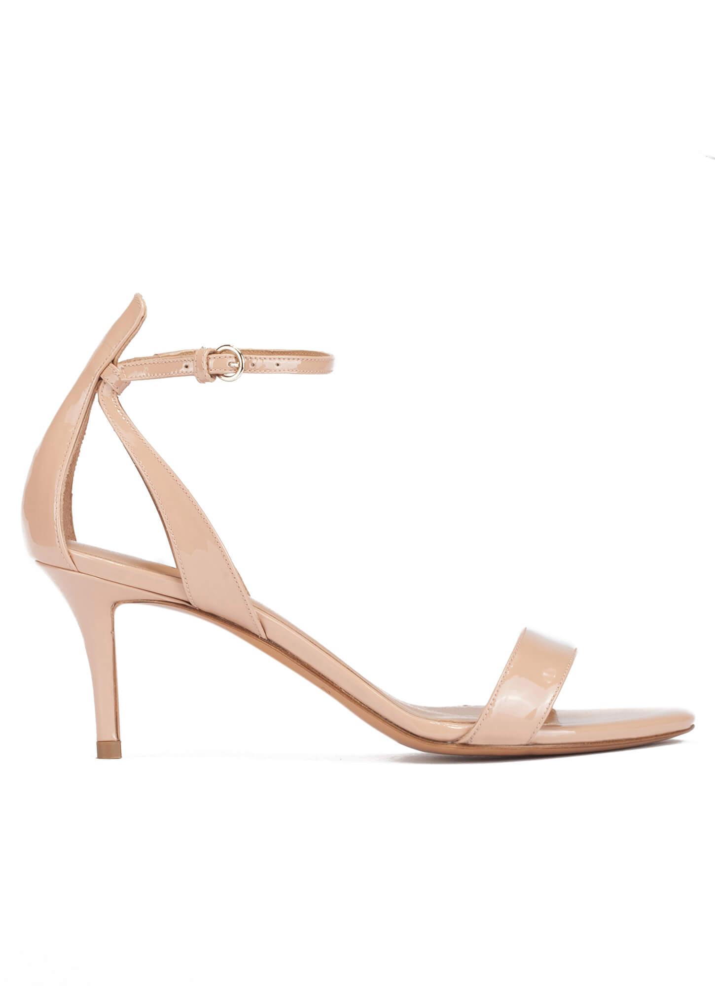 0d31308e4418a Ankle strap mid stiletto heel sandals in nude patent . PURA LOPEZ