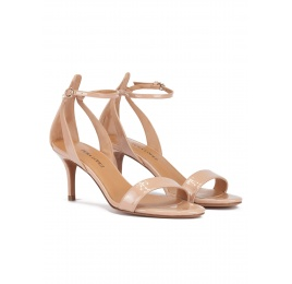 Ankle strap mid stiletto heel sandals in nude patent leather Pura López