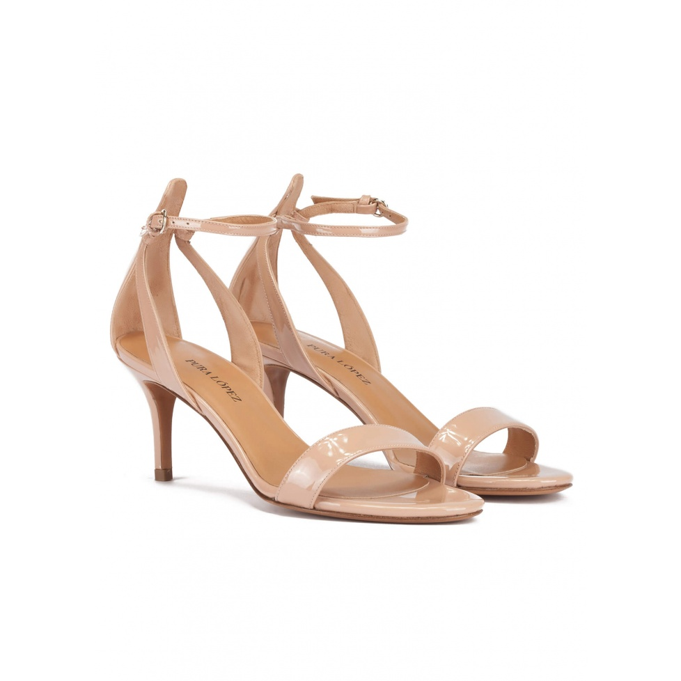 Ankle strap mid stiletto heel sandals in nude patent