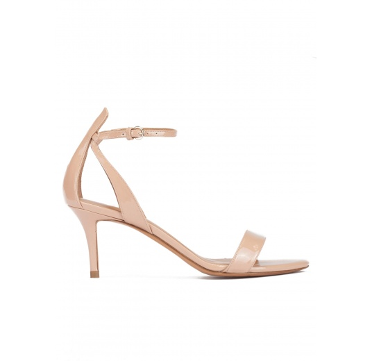 Ankle strap mid stiletto heel sandals in nude patent leather Pura L�pez