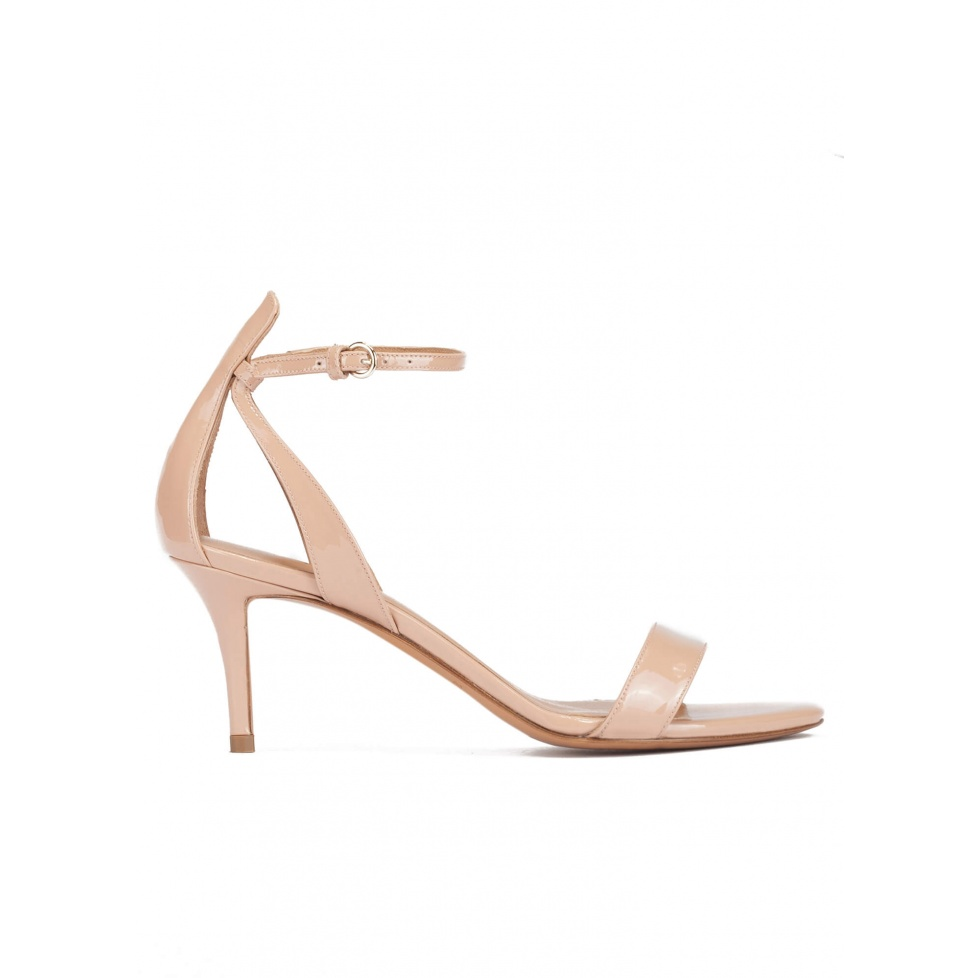 Ankle strap mid stiletto heel sandals in nude patent leather