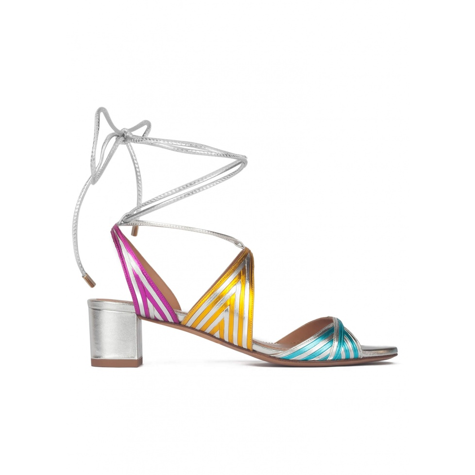 Lace-up mid block heel sandals in metallic leather