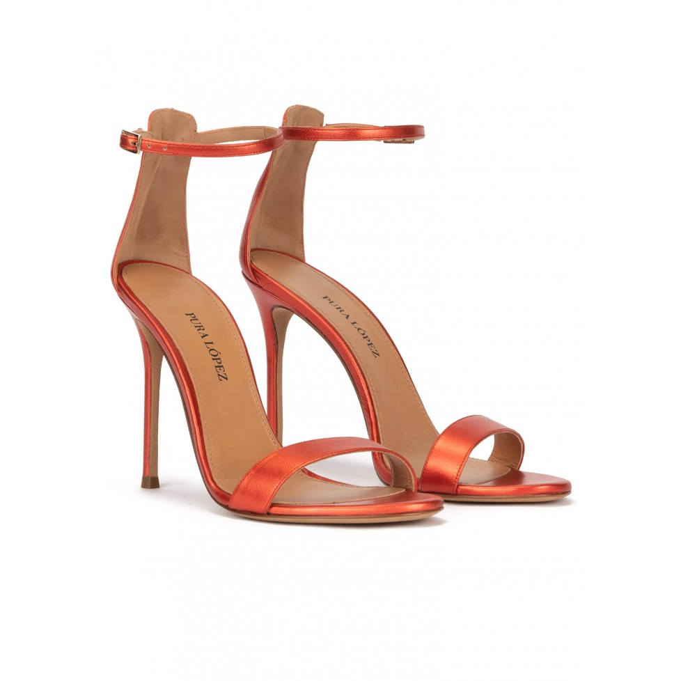 High heel sandals in coral pink metallic leather