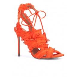Strappy high heel sandals in orange suede Pura López