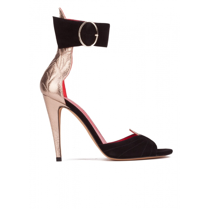 Ankle strap high heel sandals in black suede and champagne leather