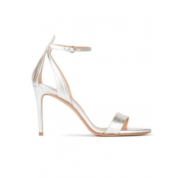 Silver ankle strap high heel sandals with minimialist design Pura López