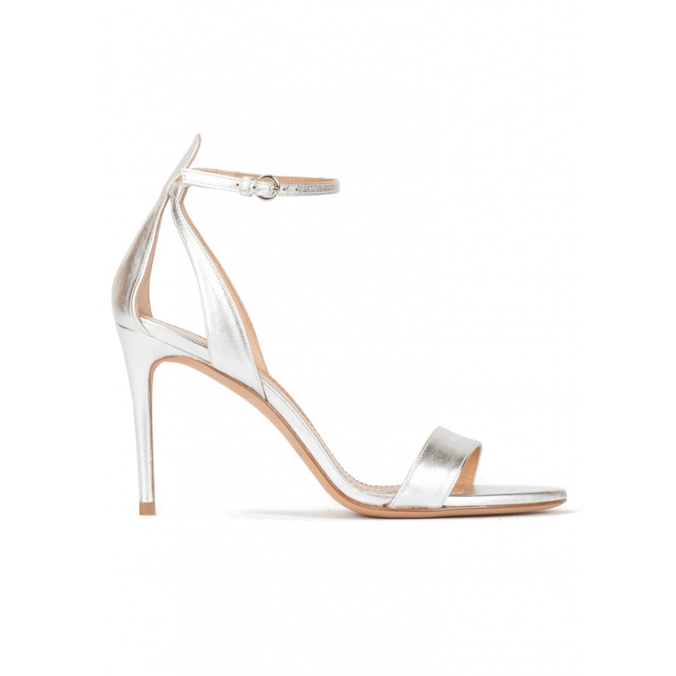 Silver ankle strap high heel sandals with minimialist design