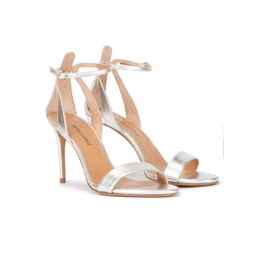 Silver ankle strap high heel sandals with minimialist design Pura L�pez