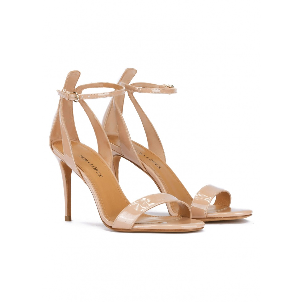 Nude ankle strap high heel sandals in patent leather