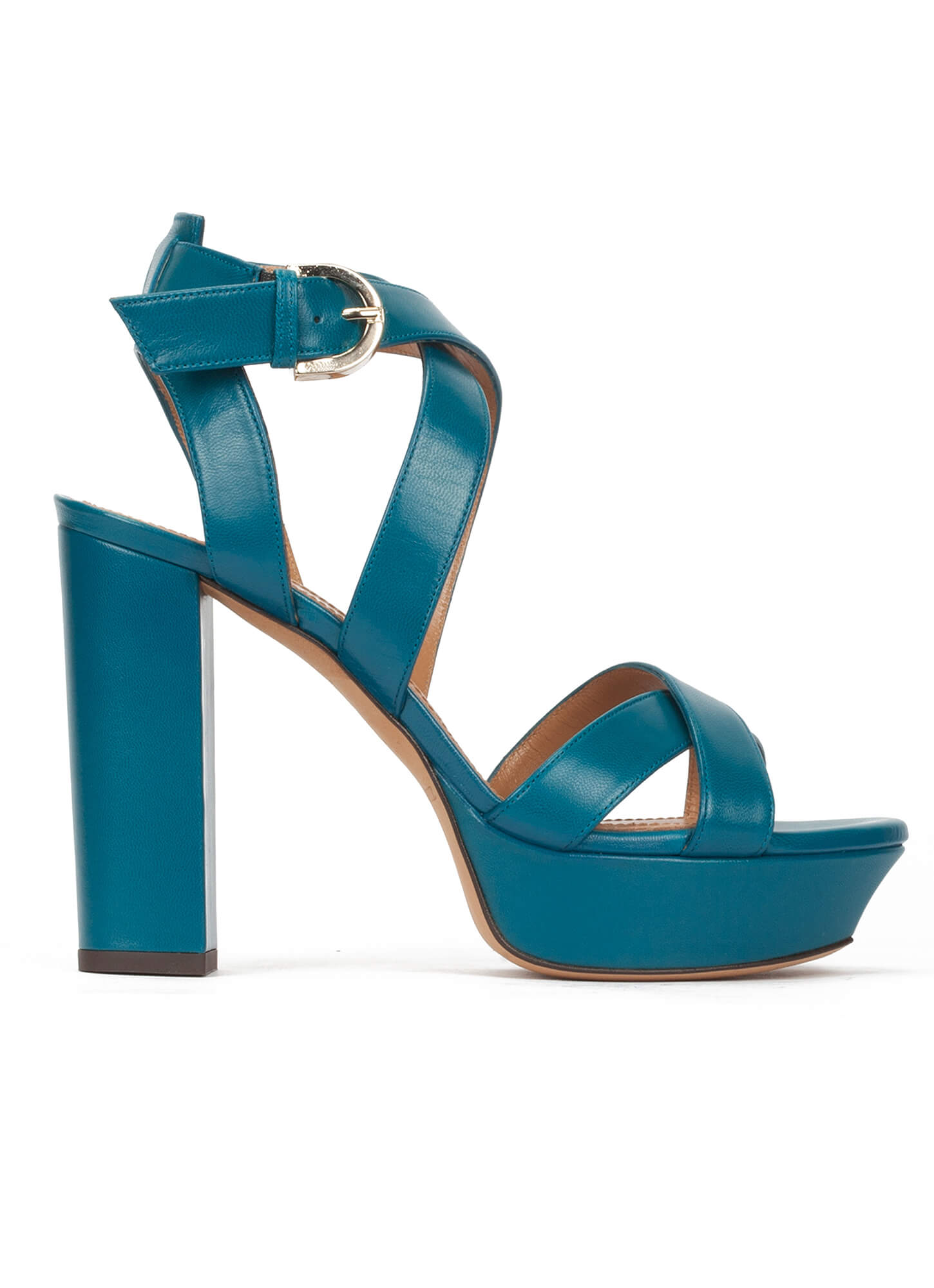 893864cce833e9 Strappy platform high block heel sandals in blue leather . PURA LOPEZ