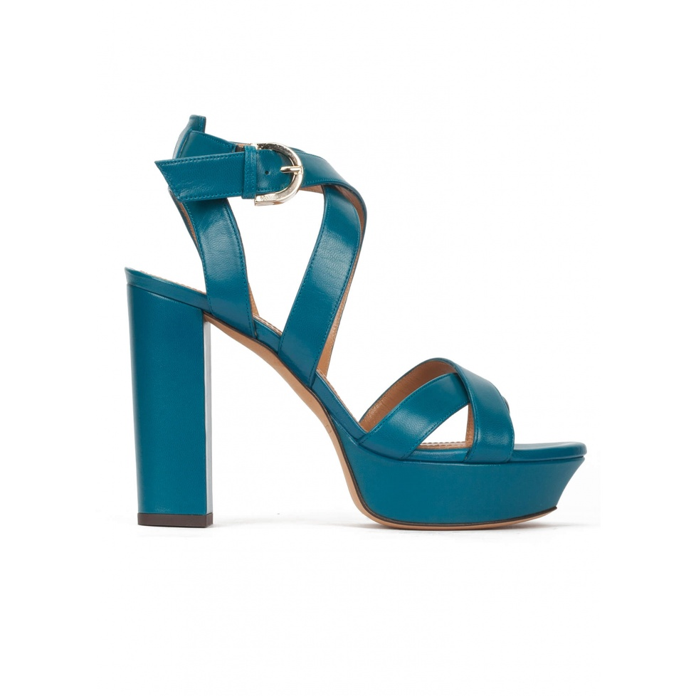 Strappy platform high block heel sandals in petrol blue leather