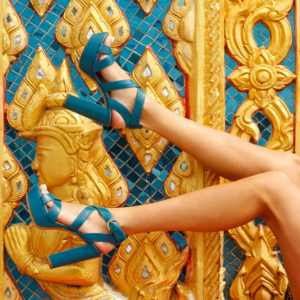 Strappy platform high block heel sandals in blue leather