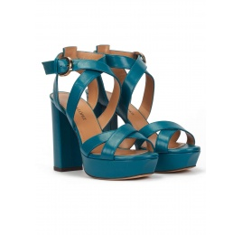 Strappy platform high block heel sandals in petrol blue leather Pura López