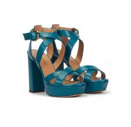 Sandalias de tiras con plataforma y tacón alto en piel azul Pura López