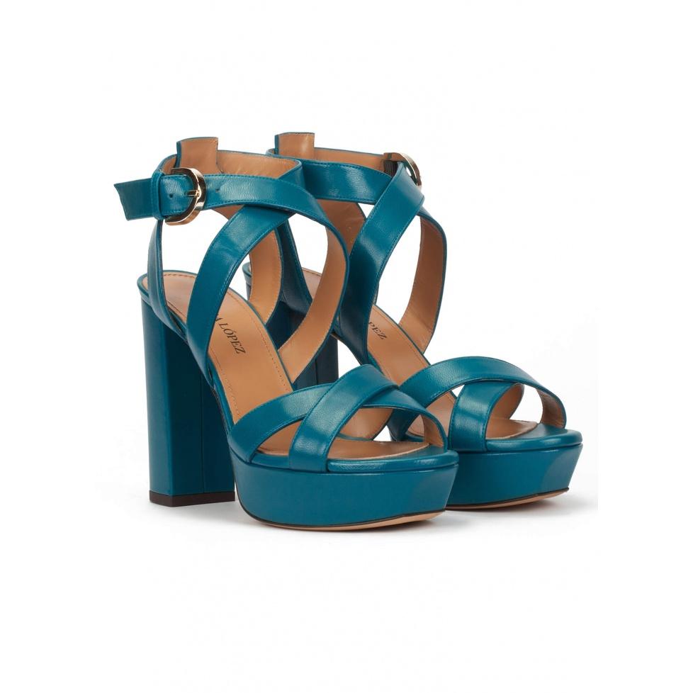 Sandalias de tiras con plataforma y tacón alto en piel azul