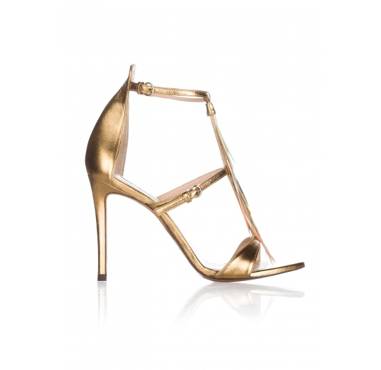 Feather detailed high heel sandals in gold metallic leather Pura L�pez