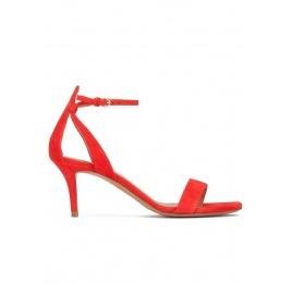 Ankle strap mid stiletto heel sandals in red suede Pura López