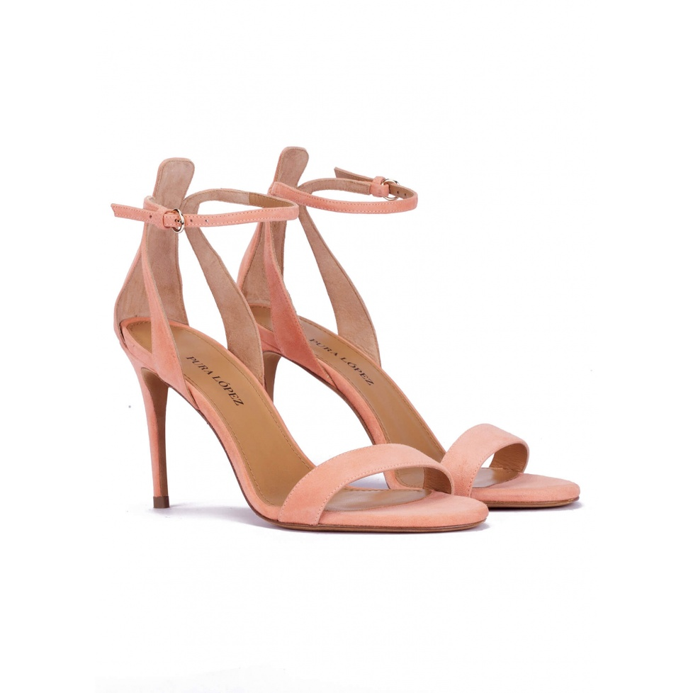 Ankle strap high stiletto heel sandals in old rose suede