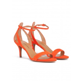 Ankle strap mid stiletto heel sandals in orange suede Pura López