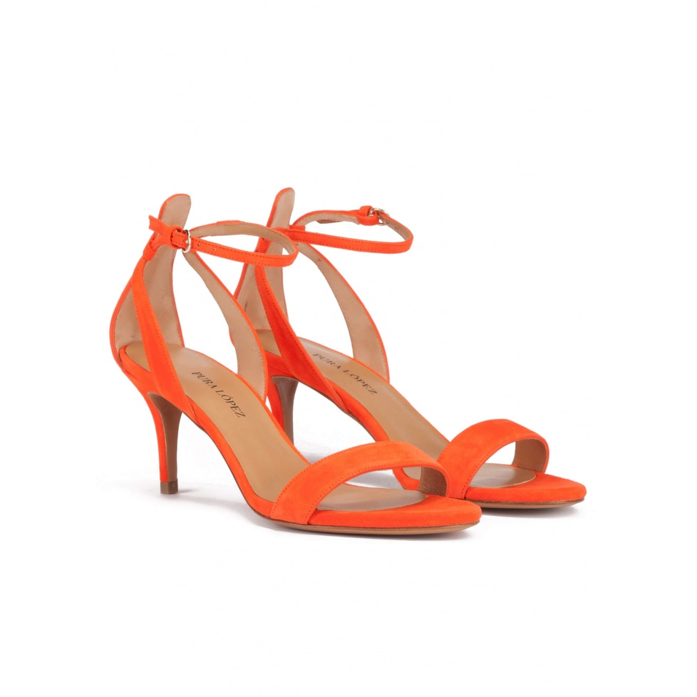 Ankle strap mid stiletto heel sandals in orange suede