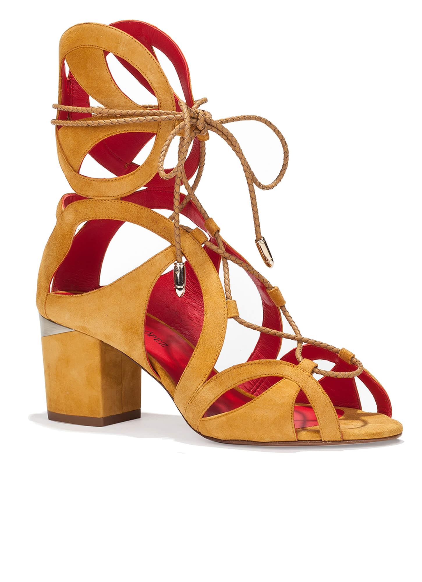 Cutout sandals in tobacco suede - shoe store Pura López . PURA LOPEZ
