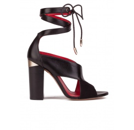 Lace-up high block heel sandals in black suede and leather Pura López