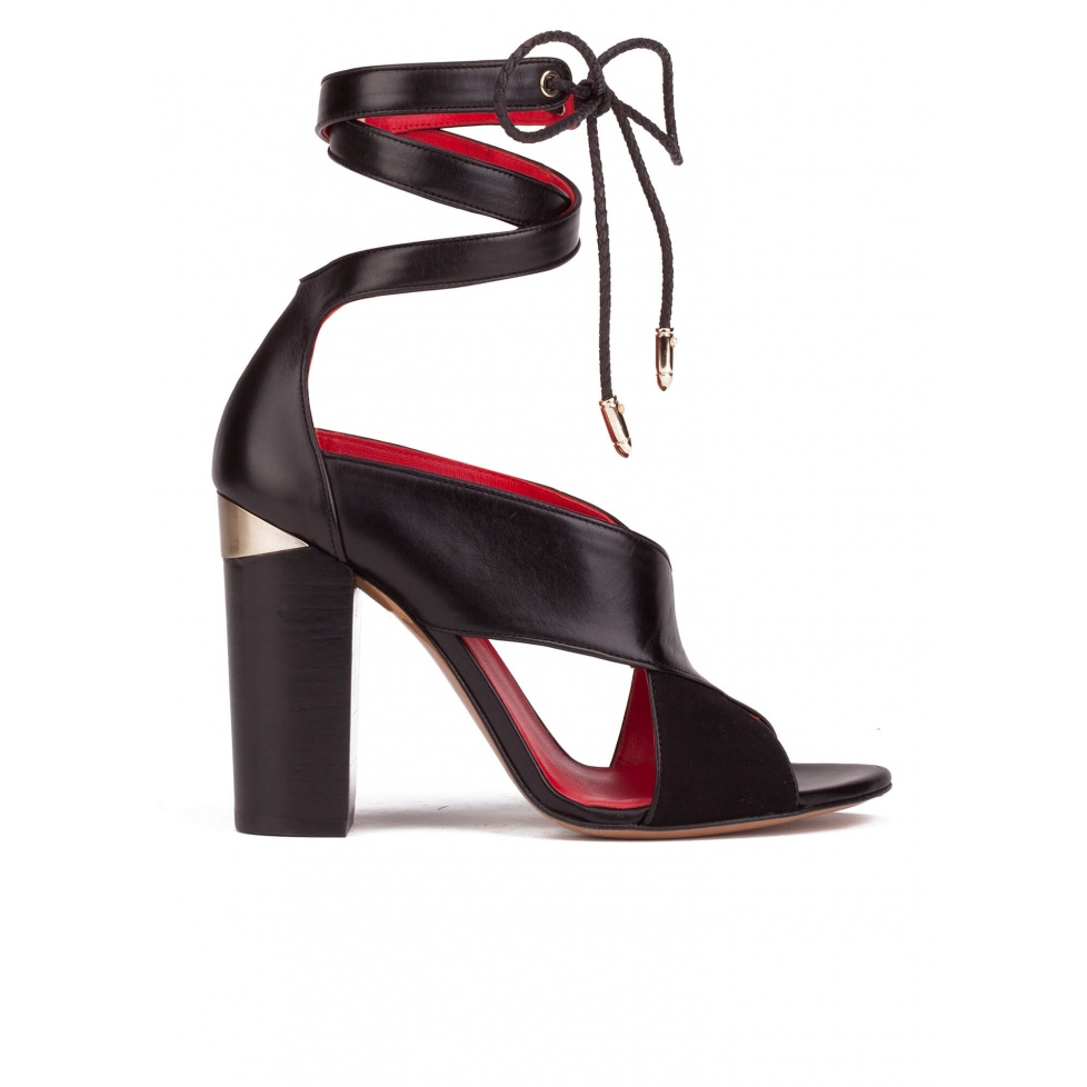 Lace-up high block heel sandals in black suede and leather