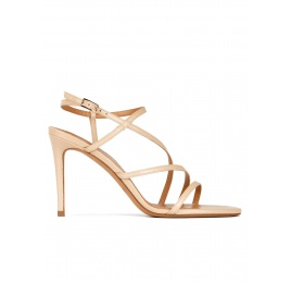 Strappy high-heeled sandals in beige leather Pura López