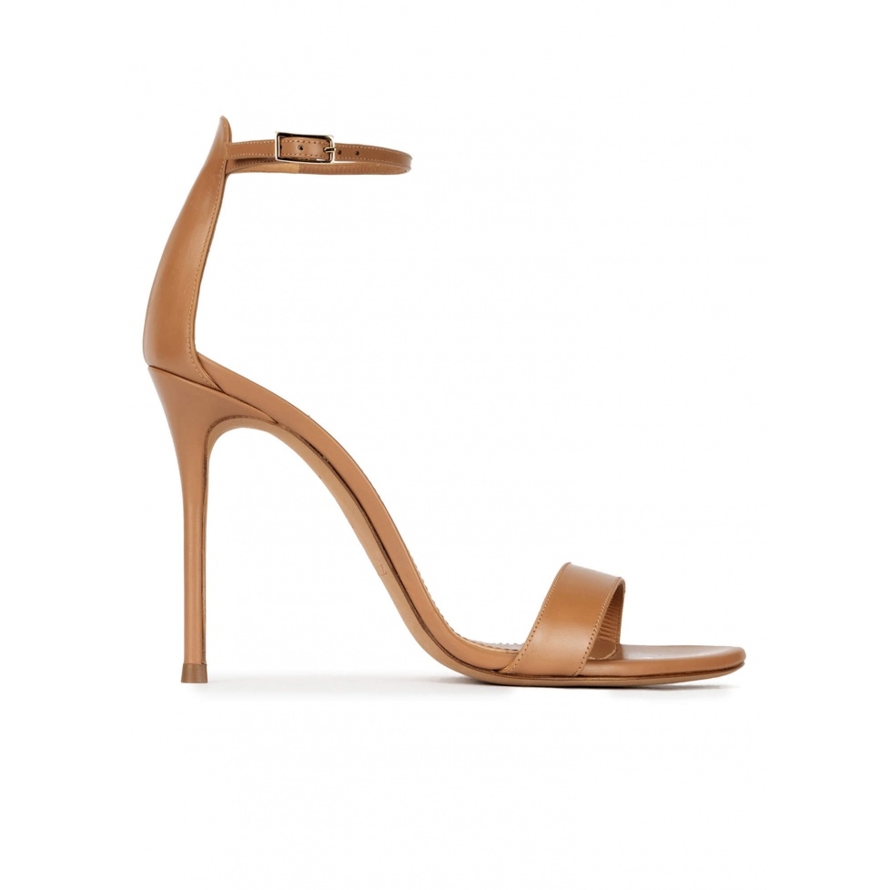 Ankle strap heeled sandals in camel leather