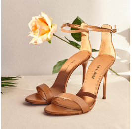 Ankle strap heeled sandals in camel leather Pura López