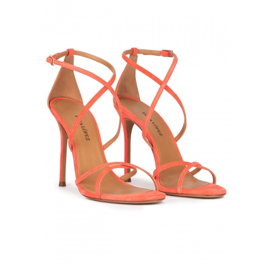 Crossed-strap high heel sandals in coral suede Pura López